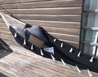 Design hammock FORMENTERA, very trendy for a chic and Bohemian to the inside and outside, 2, black