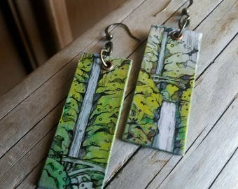 Beautful Multnomah Falls - pdx hand-painted earrings - Portland, Oregon waterfall