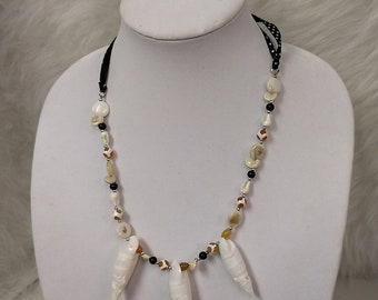 Tropical Shell Necklace with Ribbon Strand