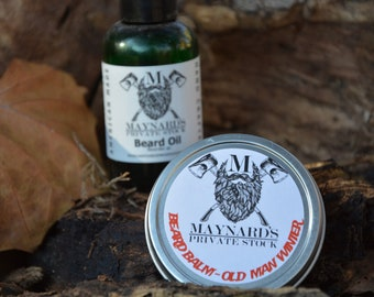 Beard Oil and Beard Balm Beard Kit - Old Man Winter (Peppermint scented beard oil and beard balm) top selling items, essential oil blend