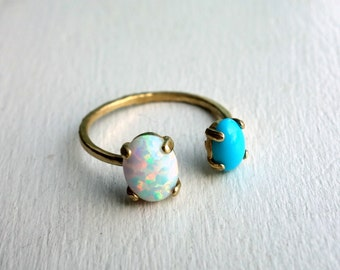 Brass Dual Stone Ring- Opal and Turquoise - Golden Turquoise and Opal Two Stone Open Topped Ring