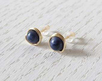Natural blue sapphire stud earrings, Blue sapphire studs, September birthstone earrings