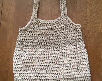 Striped Market Bag/ Crocheted Market Bag/ Khaki Hobo Bag