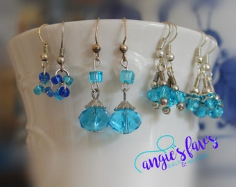 Dangle Earrings, Blue Beads