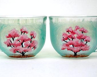 Set of 2 Cherry Blossom Hand Painted Mugs