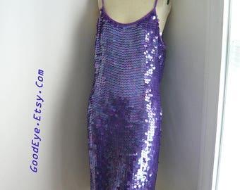 Vintage 90s SEQUIN SLIP Dress /  PURPLE Rain Cocktail Party Prom / size medium 8 10 12 / Spaghetti Straps Knee Length