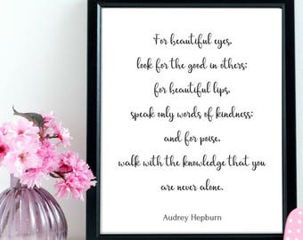 Audrey Hepburn Quote, Audrey Hepburn Print, PRINTABLE Poster, Modern Wall Art, Black and White Art, Calligraphy Print, Motivational Quote