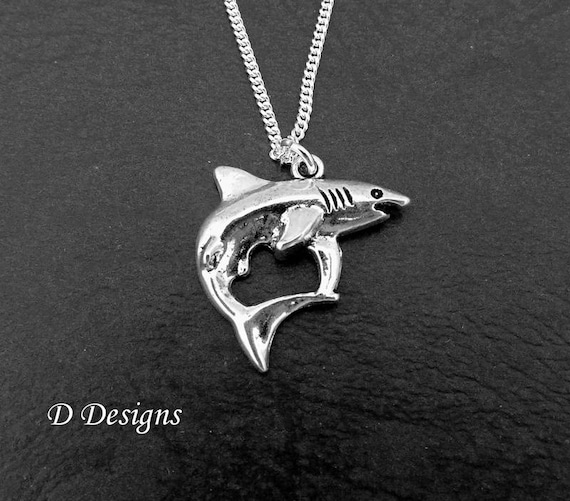 Shark necklace silver shark pendant shark charm necklace aloadofball Gallery