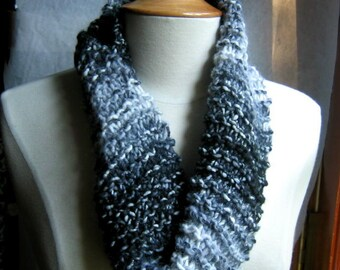 Black and White and Grey All Over Neck Warmer Cowl