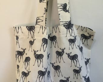 Deer Print Tote Bag - Black and White Cotton with Silk Lining Shopping Chic