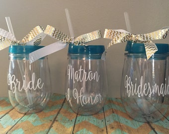 Bridesmaid Bev2Go Tumbler, Stemless Wineglass,Personalized Wine Glass, Monogrammed Stemless Wineglass