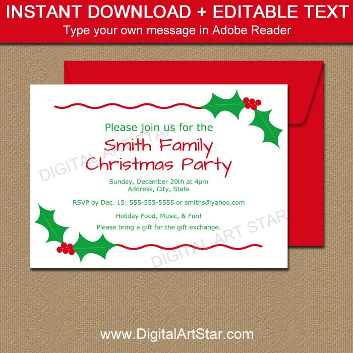 EDITABLE Christmas Party Invitation Christmas Holly Invite
