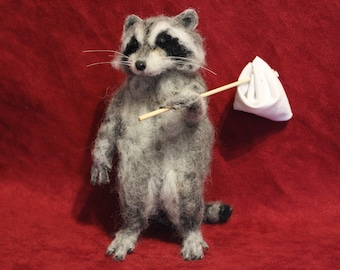 Raccoon needle felted realistic sculpture needle felted realistic figurine toy animals