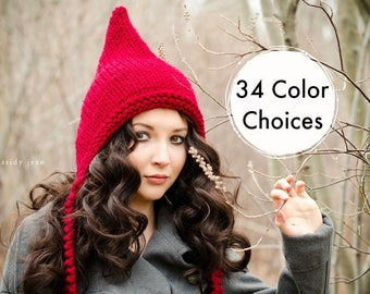 Womens Cranberry Red Pixie Hat - Chunky Knit Ear Flap Hat - Knit Accessories Womens Accessories Fall Fashion Winter Hat - 34 Color Choices