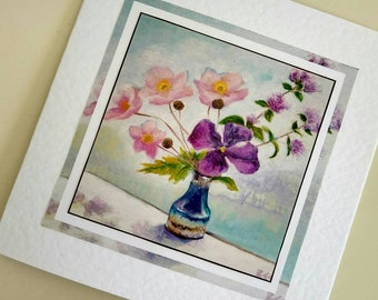 Blank card Anemones and Clematis from original painting by Bee Skelton for any occasion birthday gift anniversary thank you