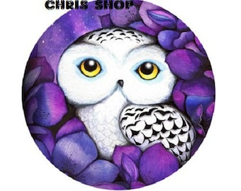 pretty cabochon 25mm, white OWL