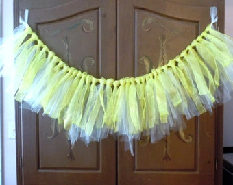 glittery gold tutu garland torn fabric girly banner bunting nursery wall window valance decoration sparkly glittery