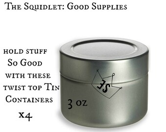 x4 Empty Tin Containers - Twist Top Container - Lotion Container - Round Tin Container - Empty Cosmetic Container - Lotion Container