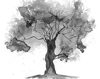Fine Art Print, Abstract Watercolour Tree Painting Black and White - available in sizes 7 x 5, 10 x 8, 12 x 10, 14 x 11, 16 x 12 and 20 x 16