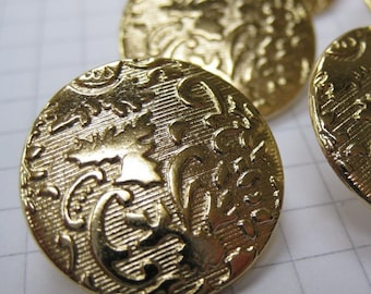 10 Medium Gold Brocade Buttons