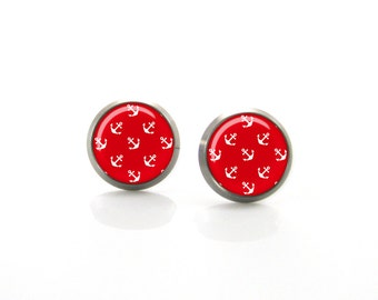 Red White Anchor Post Earrings | Hypoallergenic Earring Stud | Titanium Earring Stud | Nickel Free Earrings | Sensitive jewelry