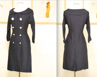 1950's/60's Navy Party Dress / Sailor / Wiggle Dress / Pinup / Mad Men / Rare Collectible Retro