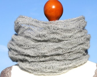 Hand knitted infinity scarf / loop / circle scarf / knitted scarf / snood / lace / alpaca / silk / gray / grey