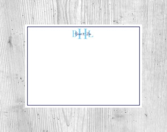 Three Letter Monogram With Names & Thin Border Personalized Stationary   5 x 7    Printable   PDF