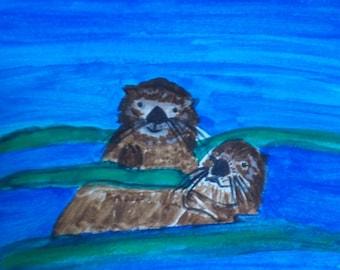 Sea Otter pals blank card