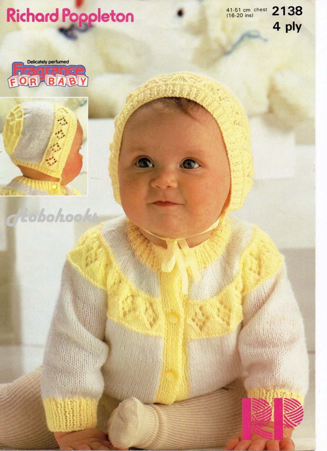 baby cardigan knitting pattern 2 colour cardigan & bonnet newborn 16 ...