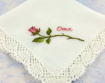 Gorgeous Lace edged Cotton Handkerchief, Hanky with an Embroidered Rose and with the word Oma