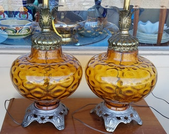 Ef & Ef Industries: 1 pair of Hollywood Regency butterscotch amber glass table lamps No.338 1970