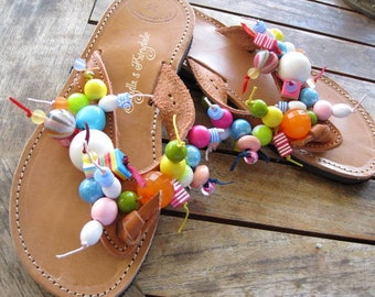 "Greek genuine leather handmade embellished sandals  with round multicolored beads - Flip Flops  ""BubbleGum"""