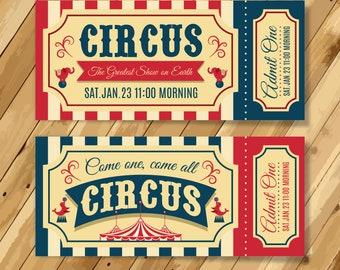 Vintage circus tickets party invitation, Circus birthday invitations, circus party invitations