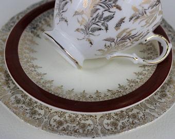 Tasse à thé dépareillées coupe Trio Gainsborough thé doré or