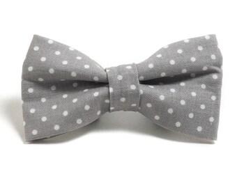 Dog Collar Bow Tie - Dog Bow Tie - Gray and White Dots - Gray and White Dog - Collar Accessory - Bow Tie for Dog - Wedding Dog Bow Tie