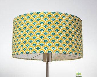 """Abat jour géométrique jaune style scandinave 35 cm """"Coquillages"""""""
