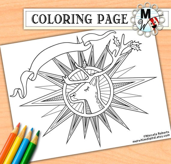 Christmas Coloring Page for Adults Reindeer Adult Coloring