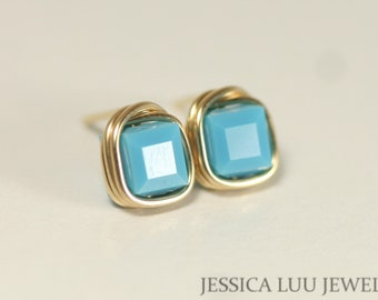 Gold Turquoise Stud Earrings Blue Swarovski Crystal Earrings Wire Wrapped Jewelry Rose Gold Earrings Rose Gold Jewelry Necklace and Earrings