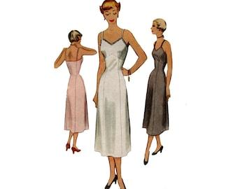 1950's Bra Slip Pattern Lingerie Shelf Bust Fit and Flare Full Slip Dress McCall 8049 Bust 34 Vintage Sewing Pattern