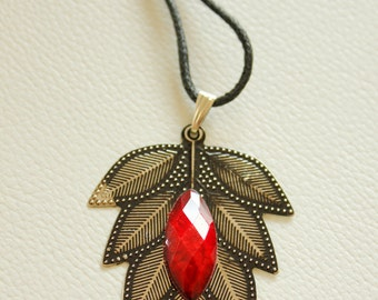 Red And Antique Silver Leaf Pendant