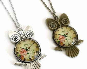 Owl pendant etsy owl pendant necklace aloadofball Image collections