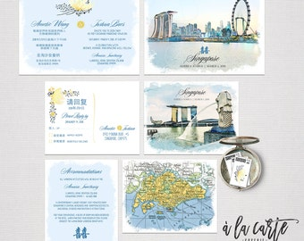 Destination wedding invitation Singapore Asia Chinese Wedding bilingual illustrated wedding invitation Deposit Payment