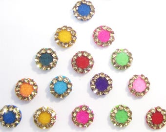 Fancy Colorful Bindis,indian bindi,Round Bindis Sticker ,Velvet Colorful Bindis,Colorful Face Jewels,Bollywood Bindis,Self Adhesive Stickers
