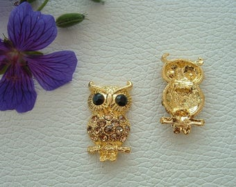Pendant or connector in gold tone and rhinestone OWL Brown 35mm