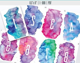 Watercolor Live Reverse Number Cards(1-999) | Live Sale Numbers, Number Tags, Facebook live numbers