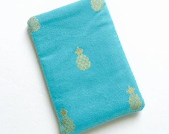 Pill Case Birth Control Cozy - Tiny gold pineapples on aqua