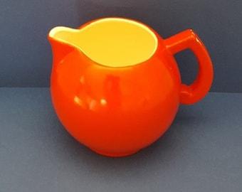 Vintage Red Ceramic Milk Pitcher Czechoslovakia
