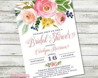 Cute Blooms Floral Spring or Summer Bridal Shower Invitation