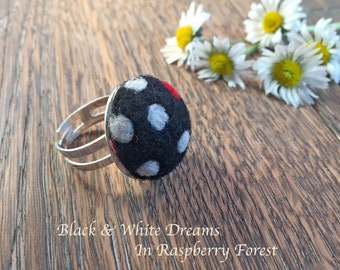 Needle felted ring, felt ring, circle ring, wool ring, polka dot ring, black & white polka dot ring, boho style, fiberart, gift for her